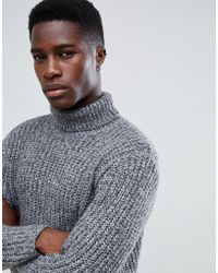 ASOS Heavyweight Fisherman Rib Roll Neck Sweater In Grey - Gray