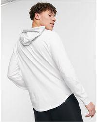 Hollister Top con cappuccio a maniche lunghe bianco con riquadro con logo al centro e sul braccio