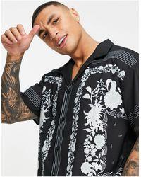 Mennace Printed Border Shirt With Revere Collar - Black