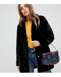 New Look - Coat With Faux Fur In Black - Lyst