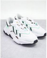 adidas Originals Белые Кроссовки С Вставками Холодного Зеленого Цвета Ozweego-белый