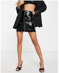 Ivyrevel Ivy Revel Patent Pu Zip Front Mini Skirt - Black
