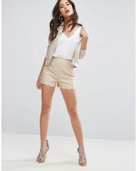 ASOS - Leather Look Shorts With Scallop Hem - Lyst