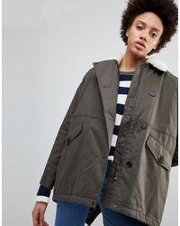 Parka London Zoe Swing Parka Coat With Borg Collar - Green