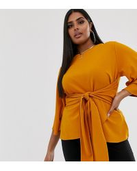 Boohoo Kimono Sleeve Top With Tie Waist In Yellow