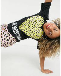Love Moschino T-shirt cœur imprimé léopard et logo - Noir