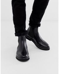 ASOS Chelsea Boots In Black Leather With Chunky Sole