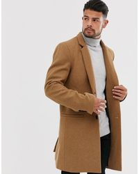 Only & Sons Wool Mix Overcoat In Camel - Brown