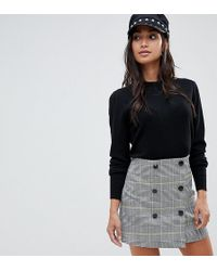 ASOS - Asos Design Petite Double Breasted Mini Skirt In Yellow And Blue Check - Lyst