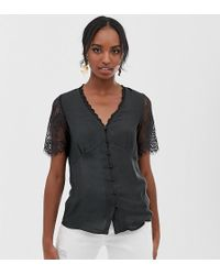 Y.A.S - Button Down Blouse With Lace Detail - Lyst