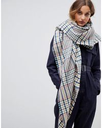 ASOS Oversized Square 70s Tweed Check Scarf - Brown
