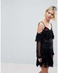 RahiCali Scarlett Ballet Embroidered Dress - Black