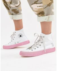 Converse - X Miley Cyrus Chuck Taylor All Star Hi Trainers In White And Silver Glitter - Lyst