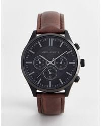 ASOS Classic Watch With Contrast Black Case And Mock Croc Strap - Brown