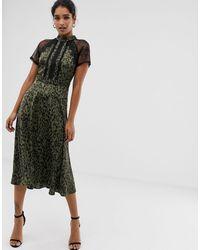 Liquorish Платье Миди Со Звериным Принтом И Кружевной Отделкой -зеленый - Многоцветный