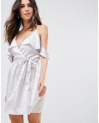 Oh My Love - Satin Wrap Dress With Tie Waist - Lyst
