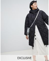 Monki Quilted Lightweight Coat With Hoodie - Black