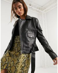 Barneys Originals Barney's Originals Boxy Leather Jacket With Belt - Black