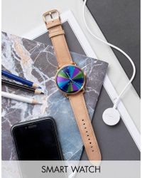 Fossil - Q Wander Leather Smart Watch In Beige - Lyst