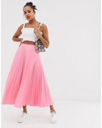 Glamorous Midaxi Full Pleated Skirt - Pink