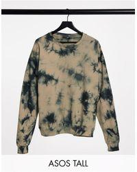 ASOS ASOS DESIGN Tall - Sweat-shirt d'ensemble à imprimé effet tie-dye - Neutre