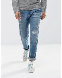 Hollister - Jeans Skinny Fit Repair Mid Wash - Lyst