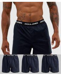 Jack & Jones 3 Pack Woven Boxers In Black