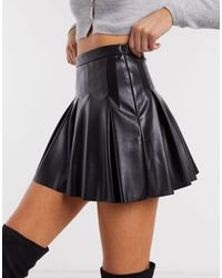 Pull&Bear Faux Leather Pleated Skirt - Black