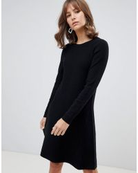 Vero Moda - Knitted Swing Midi Jumper Dress In Black - Lyst