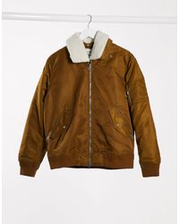 Lacoste Borg Collar Padded Bomber Jacket - Brown