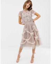 Needle & Thread - Falda midi de tul en rosado con detalle fruncido de - Lyst