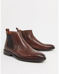 Tommy Hilfiger Коричневые Кожаные Ботинки Челси С Маленьким Логотипом -коричневый