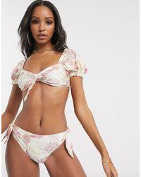 UNIQUE21 Unique 21 – Bikinioberteil mit Puffärmeln und Vintage-Blumenmuster - Braun
