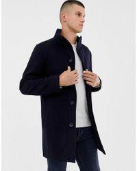 French Connection Cappotto in misto lana con collo a imbuto - Blu