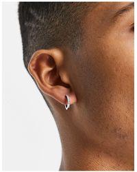 TOPMAN Crystal huggie Hoop Earrings - Metallic
