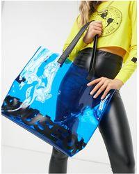 House of Holland Borsa shopping trasparente blu