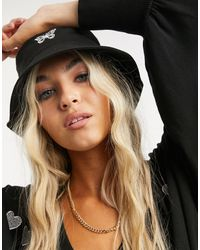 ASOS Canvas Bucket Hat With Butterfly Logo - Black
