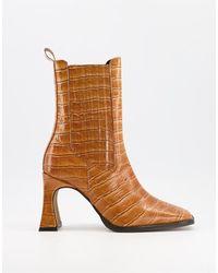 ASOS - Светло-коричневые Кожаные Ботинки На Высоком Каблуке С Отделкой Под Кожу Крокодила - Lyst