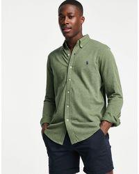 Polo Ralph Lauren Зеленая Меланжевая Рубашка Узкого Кроя Из Пике На Пуговицах С Логотипом В Виде Игрока Поло -зеленый Цвет