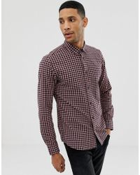 Only & Sons Slim Fit Shirt In Grid Check - Red