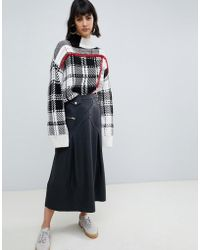 ASOS Premium Leather Midi Kilt Skirt - Black