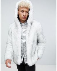 ASOS Faux Fur Hooded Bomber In White