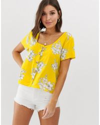 Abercrombie & Fitch Top In Floral - Yellow