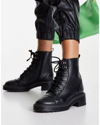 River Island Botas militares negras clásicas con cordones - Negro