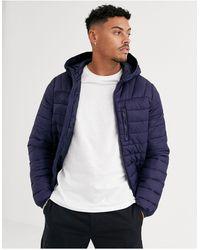 Bershka Hooded Puffer Jacket - Blue