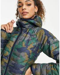 Columbia Зеленая Куртка С Капюшоном И Камуфляжным Принтом Powder Lite-темно-синий