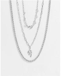 Bershka Серебристое Ожерелье В Три Ряда -серебряный - Металлик