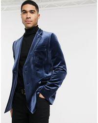 ASOS Skinny Velvet Double Breasted Tuxedo Blazer - Blue
