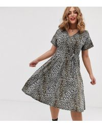 Simply Be Tie Waist Midi Dress In Gray Leopard