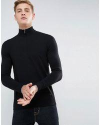 Armani Jeans - Half Zip Logo Jumper Black - Lyst